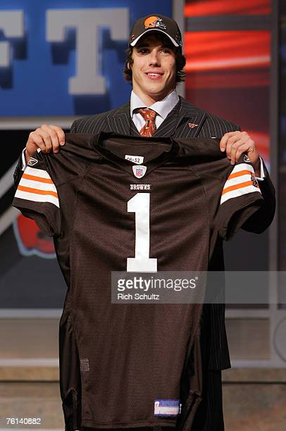 Brady Quinn QB Notre Dame after being selected by the Cleveland Browns 22nd in the first round during the NFL draft at Radio City Music Hall in New...