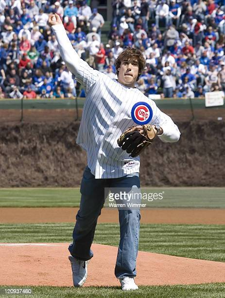 Brady Quinn quarterback from Notre Dame throwing out the First Pitch at Wrigley Field Chicago Illinois on April 15 2007 where a standing room only...