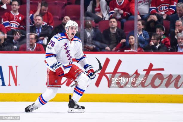 Brady Skjei of the New York Rangers celebrates his second period goal against the Montreal Canadiens in Game Five of the Eastern Conference First...