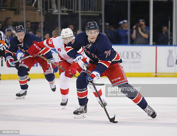 Brady Skjei of the New York Rangers skates against the Detroit Red Wings at Madison Square Garden on April 9 2016 in New York City The Rangers...