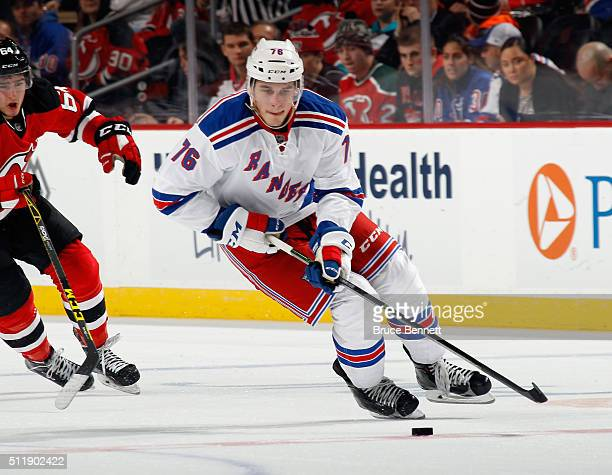 Brady Skjei of the New York Rangers skates against the New Jersey Devils at the Prudential Center on February 23 2016 in Newark New Jersey