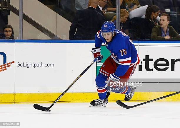 Brady Skjei of the New York Rangers skates against the New Jersey Devils during their Pre Season game at Madison Square Garden on September 21 2015...