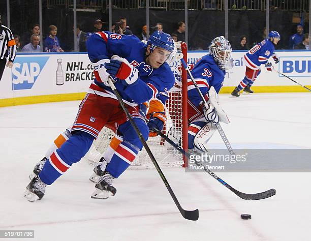 Brady Skjei of the New York Rangers skates against the New York Islanders at Madison Square Garden on April 7 2016 in New York City The Islanders...