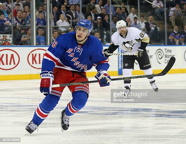 Brady Skjei of the New York Rangers skates against the Pittsburgh Penguins in Game Three of the Eastern Conference First Round during the 2016 NHL...