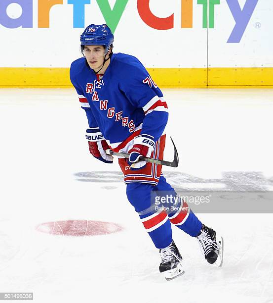 Brady Skjei of the New York Rangers skates in warmups prior to the game against the Edmonton Oilers at Madison Square Garden on December 15 2015 in...