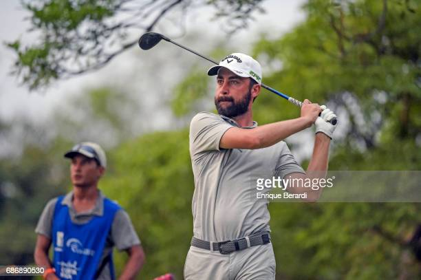 Brady Watt of Australia tees off on the ninth hole during the second round of the PGA TOUR Latinoamerica Essential Costa Rica Classic at Reserva...