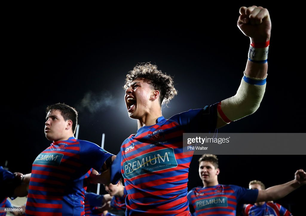 Braedyn Collins of Rosmini celebrates following the North Harbour First XV 1A Final between Westlake Boys Huigh School and Rosmini College at QBE Stadium on August 17, 2017 in Auckland, New Zealand.
