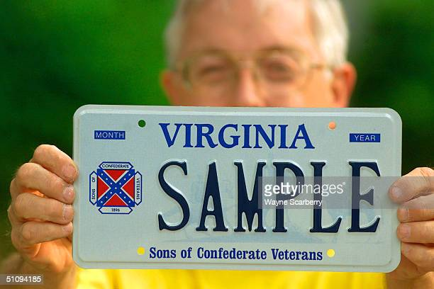 Brag Bowling First Lieutenant Commander Of The Sons Of Confederate Veterans Virginia Division Holds A Sample Virginia Licence Plate Containing His...