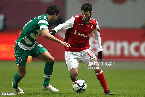 Braga's Portuguese midfielder Rafa Silva in action with Sporting's Portuguese defender C��dric Soares during Premier League 2014/15 match between SC...