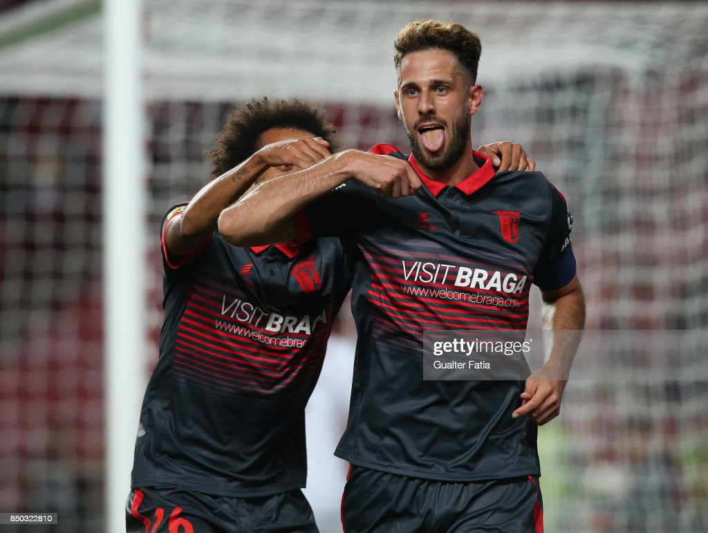 SC Braga defender Ricardo Ferreira from Portugal celebrates after scoring a goal during the Portuguese League Cup match between SL Benfica and SC Braga at Estadio da Luz on September 20, 2017 in Lisbon, Portugal.