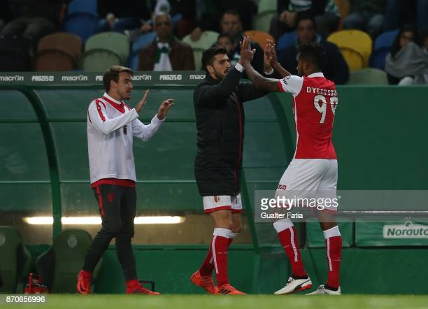 Braga forward Dyego Sousa from Brazil celebrates with teammates after scoring a goal during the Primeira Liga match between Sporting CP and SC Braga...