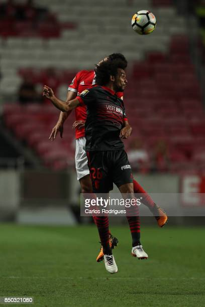 Braga forward Fabio Martins from Portugal vies with Benfica's defender Andre Almeida from Portugal for the ball possession during the match between...