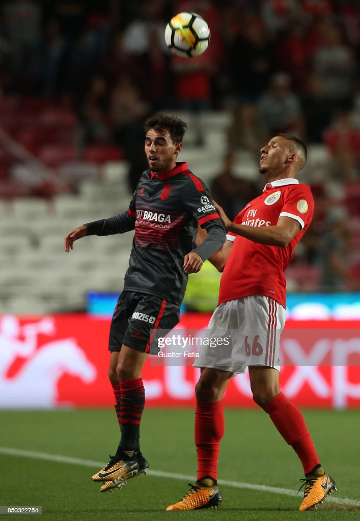 SC Braga forward Ricardo Horta from Portugal with SL Benfica defender Ruben Dias from Portugal in action during the Portuguese League Cup match between SL Benfica and SC Braga at Estadio da Luz on September 20, 2017 in Lisbon, Portugal.