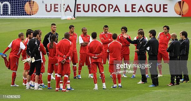 Braga Head Coach Fernando Couto coach talks to his players during a SC Braga training session ahead of their UEFA Europa League Final against FC...