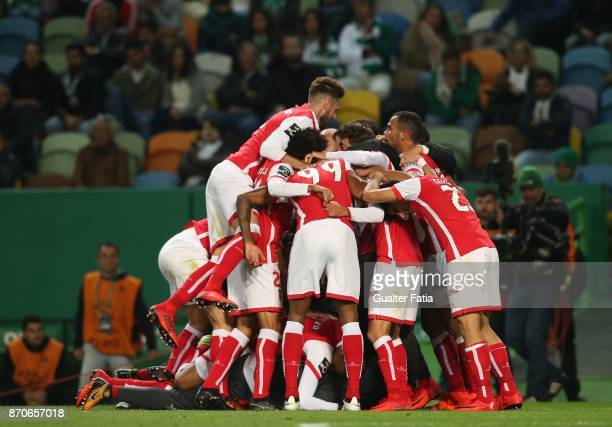 Braga midfielder Danilo Silva from Brazil celebrates with teammates after scoring a goal during the Primeira Liga match between Sporting CP and SC...