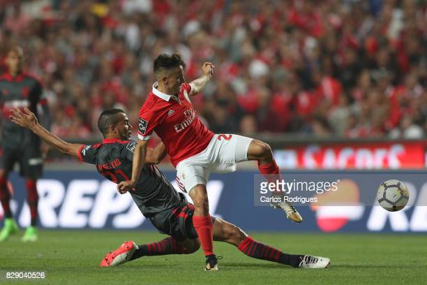 Braga midfielder Fransergio from Brasil vies with Benfica's forward Franco Cervi from Argentina during the match between SL Benfica and SC Braga for...