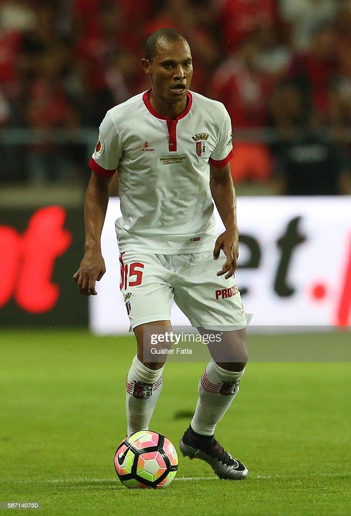 Braga's Brazilian defender Baiano in action during the Super Cup match between SL Benfica and SC Braga at Estadio Municipal de Aveiro on August 7...