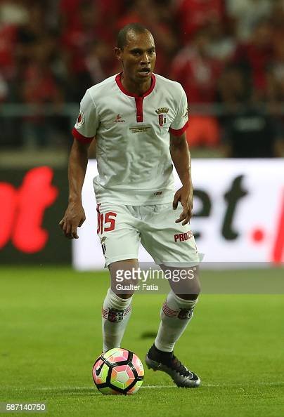 Braga's Brazilian defender Baiano in action during the Super Cup match between SL Benfica and SC Braga at Estadio Municipal de Aveiro on August 7...