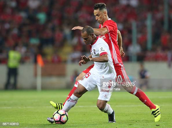 Braga's Brazilian defender Baiano with SL Benfica's forward from Brazil Jonas in action during the Super Cup match between SL Benfica and SC Braga at...