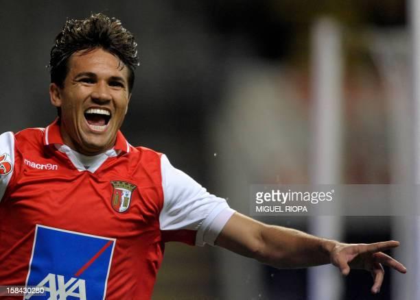 SC Braga's Brazilian midfielder Marcio da Costa 'Mossoro' celebrates after scoring during the Portuguese league football match SC Braga vs Estoril at...