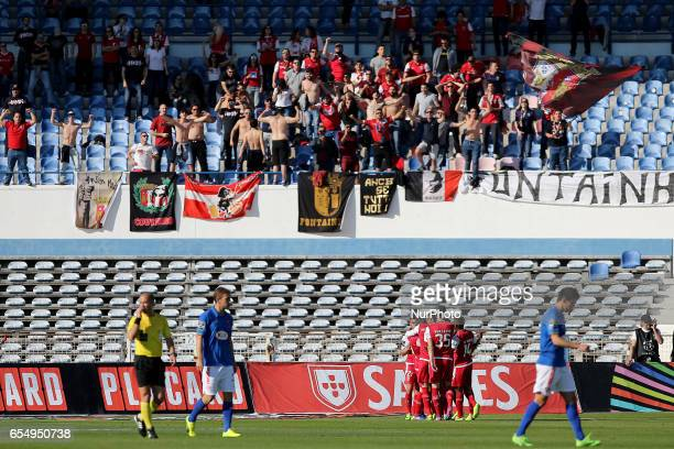 Bragas celebrating a goal during Premier League 2016/17 match between Os Belenenses and SC Braga at Restelo Stadium in Lisbon on March 18 2016