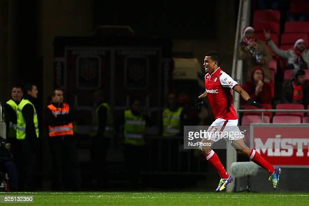 Braga's defender Aderlan Santos celebrates after scoring during the Portuguese Cup football match between SL Benfica and SC Braga at Luz Stadium in...