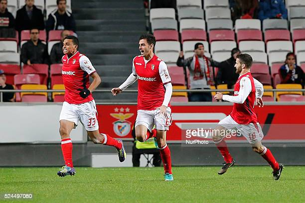 Braga's defender Aderlan Santos celebrates his goal with Braga's defender Andre Pinto and Braga's midfielder Rafa Silva during the Portuguese Cup...