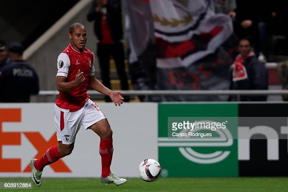 Braga's defender Baiano from Brazil during the UEFA Europe League match between SC Braga v KAA Gent at Estadio Municipal de Braga on September 15...
