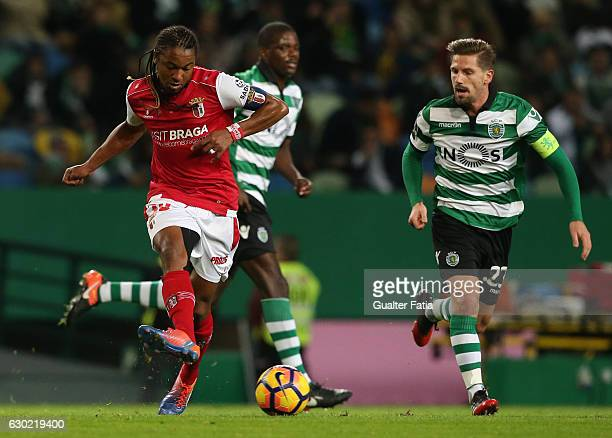 Braga's forward Alan from Brazil with Sporting CP's midfielder Adrien Silva in action during the Primeira Liga match between Sporting CP and SC Braga...