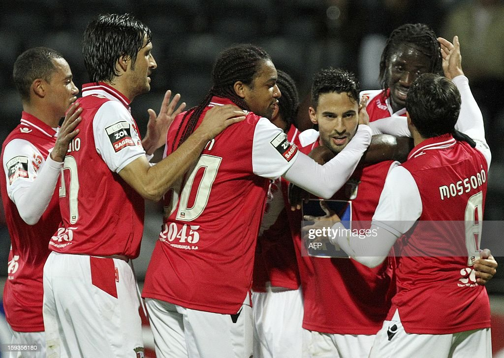 Braga's forward Helder Barbosa (3rd R) celebrates with teammates after scoring a goal during the Portuguese Liaga football match CD Nacional vs SC Braga at Madeira Stadium in Funchal on January 12, 2013.