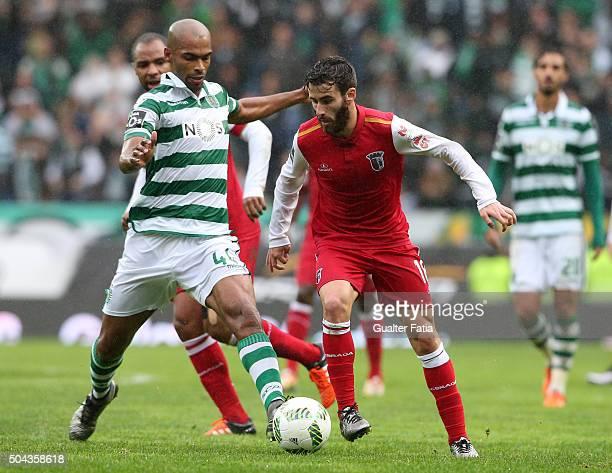 Braga's forward Rafa Silva with Sporting CP's defender Naldo in action during the Primeira Liga match between Sporting CP and SC Braga at Estadio...