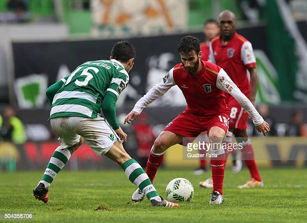 Braga's forward Rafa Silva with Sporting CP's defender Paulo Oliveira in action during the Primeira Liga match between Sporting CP and SC Braga at...