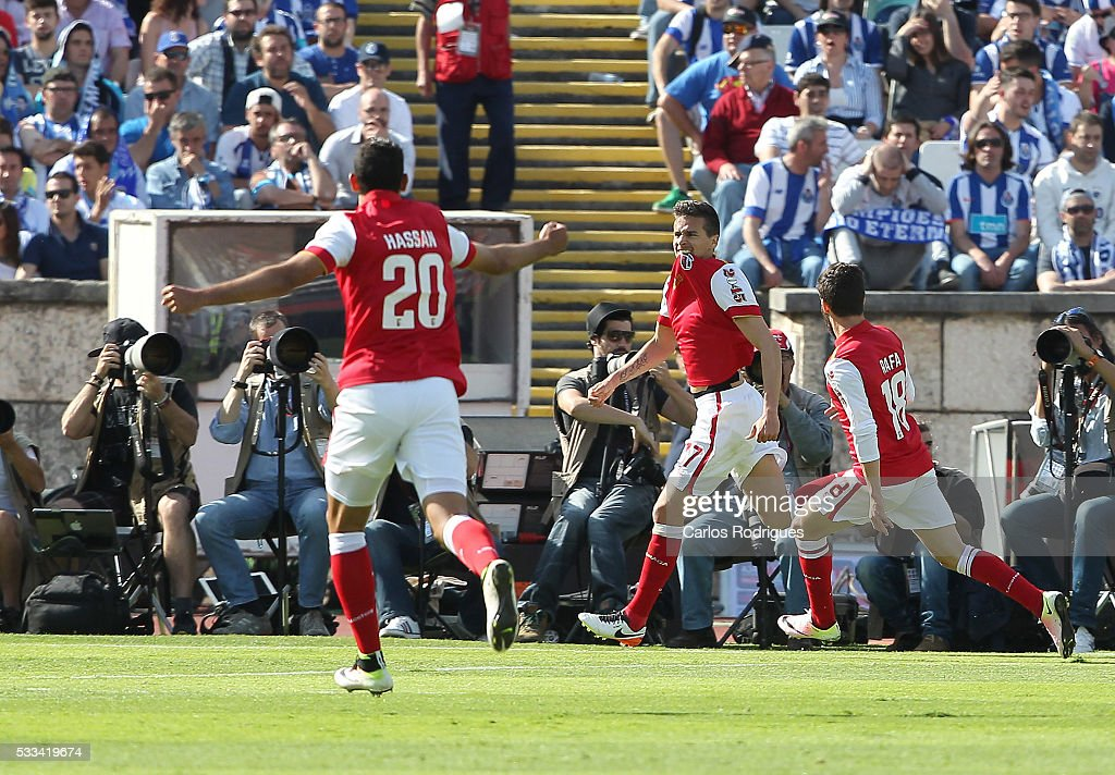 Braga's forward Rui Fonte celebrates scoring Braga's goal during the match between FC Porto and SC Braga for the Portuguese Cup Final at Estadio do Jamor on May 22, 2016 in Lisbon, Portugal.