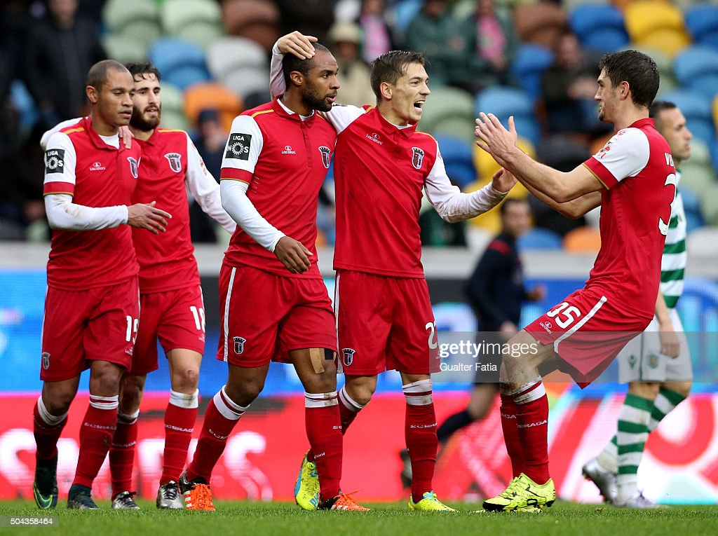 SC Braga's forward <a gi-track='captionPersonalityLinkClicked' href=/galleries/search?phrase=Wilson+Eduardo&family=editorial&specificpeople=7150735 ng-click='$event.stopPropagation()'>Wilson Eduardo</a> celebrates with teammates after scoring a goal during the Primeira Liga match between Sporting CP and SC Braga at Estadio Jose Alvalade on January 10, 2016 in Lisbon, Portugal.