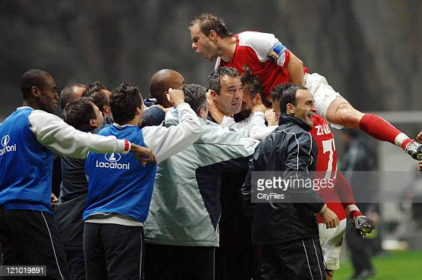 Braga's Jorge Costa and Paulo Jorge celebrate with staff during the UEFA Cup Group C match between SC Braga and the Grasshoppers at the Estadio...