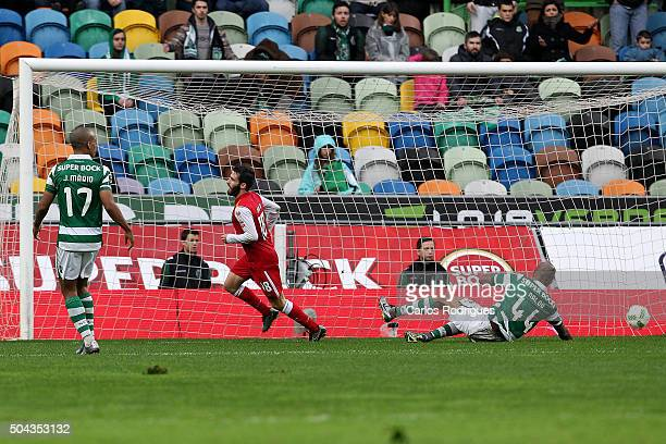 Braga's midfielder Rafa Silva celebrates scoring Braga«s second goal during the match between Sporting CP and SC Braga for the Portuguese Primeira...