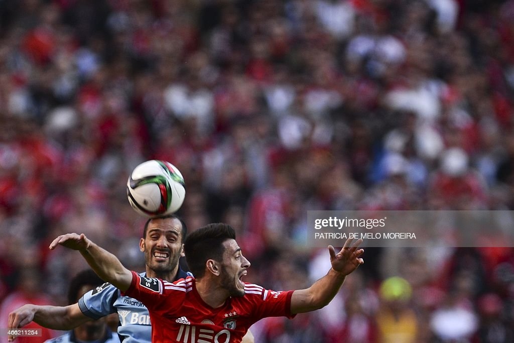 Braga's midfielder <a gi-track='captionPersonalityLinkClicked' href=/galleries/search?phrase=Ruben+Micael&family=editorial&specificpeople=5848979 ng-click='$event.stopPropagation()'>Ruben Micael</a> (L) heads the ball with Benfica's forward Luis Fernandes 'Pizzi' during the Portuguese league football match SL Benfica vs SC Braga at Luz stadium on March 14, 2015.