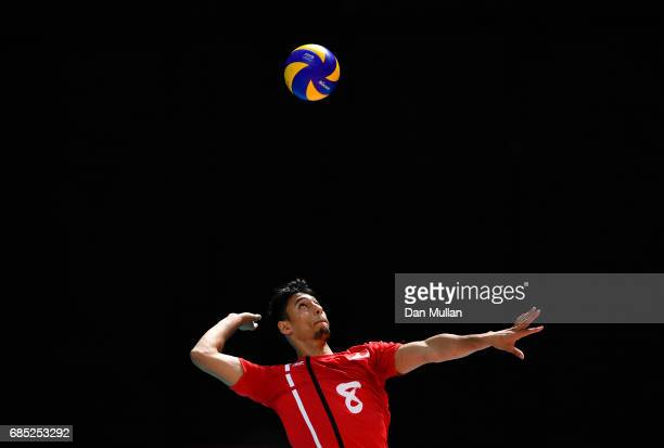 Brahim Ameur of Morocco serves in the Mens Volleyball Group B match between Qatar and Morocco during day eight of Baku 2017 4th Islamic Solidarity...