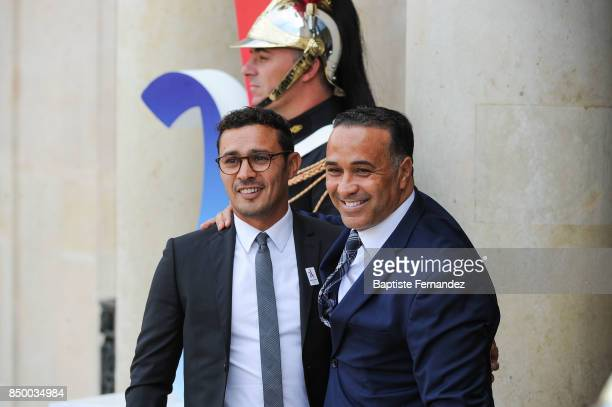 Brahim Asloum and Ghani Yalouz during the reception of the CIO by the French President at Elysee Palais on September 15 2017 in Paris France