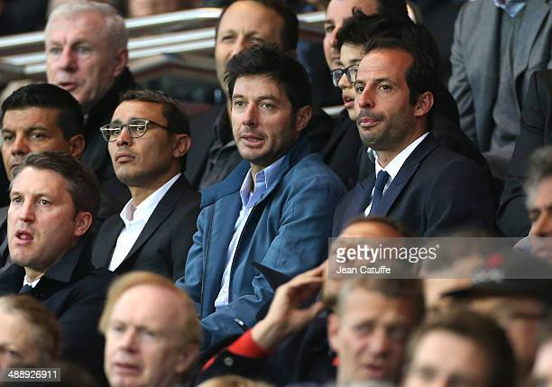 Brahim Asloum Sebastien Grosjean and Ludovic Giuly attend the french Ligue 1 match between Paris SaintGermain FC and Stade Rennais FC at Parc des...
