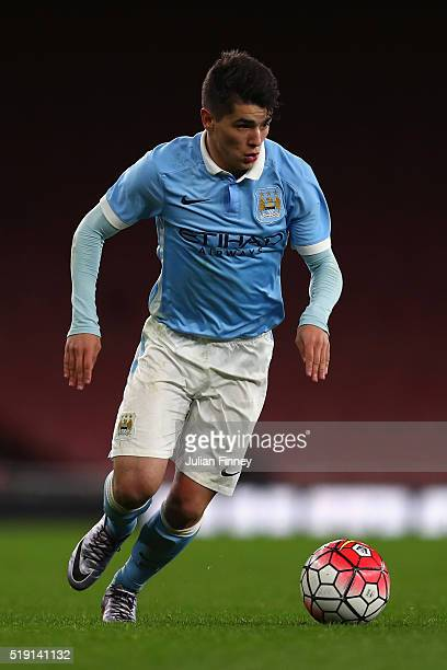 Brahim Diaz of Man City in action during the FA Youth Cup semifinal second leg match between Arsenal and Manchester City at Emirates Stadium on April...