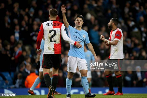 Brahim Diaz of Manchester City and Bart Nieuwkoop of Feyenoord during the UEFA Champions League group F match between Manchester City and Feyenoord...