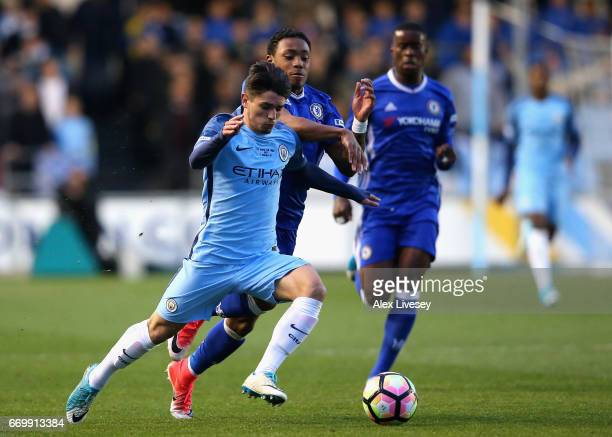 Brahim Diaz of Manchester City and Juan Castillo of Chelsea battle for possession during the FA Youth Cup Final First Leg match between Manchester...