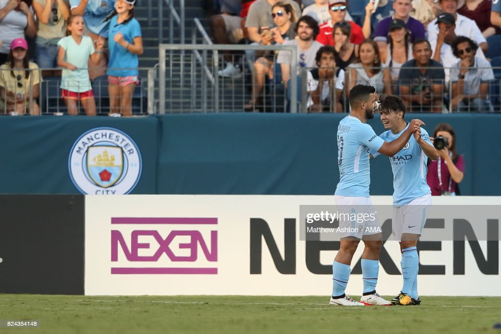 Brahim Diaz of Manchester City celebrates after scoring a goal to make it 3-0 during the International Champions Cup 2017 match between Manchester City and Tottenham Hotspur at Nissan Stadium on July 29, 2017 in Nashville, Tennessee.