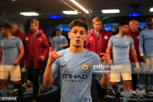 Brahim Diaz of Manchester City celebrates in the tunnel after the UEFA Champions League group F match between Manchester City and Feyenoord at Etihad...