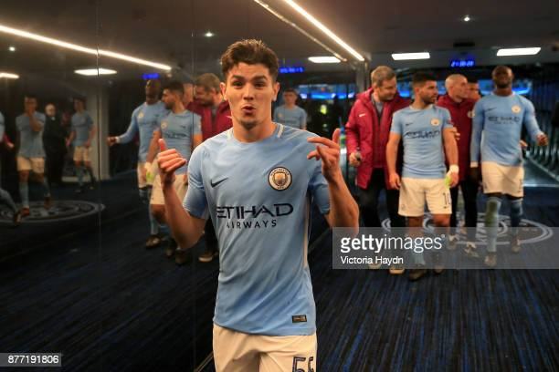 Brahim Diaz of Manchester City celebrates in the tunnel during the UEFA Champions League group F match between Manchester City and Feyenoord at...