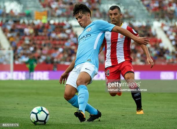 Brahim Diaz of Manchester City controls the ball during the preseason friendly match between Girona and Manchester City at Municipal de Montilivi...