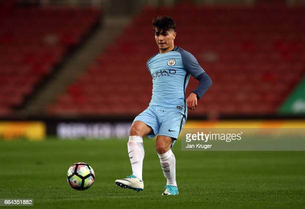 Brahim Diaz of Manchester City during the FA Youth Cup Semi Final second leg match between Stoke City and Manchester City at Bet365 Stadium on April...