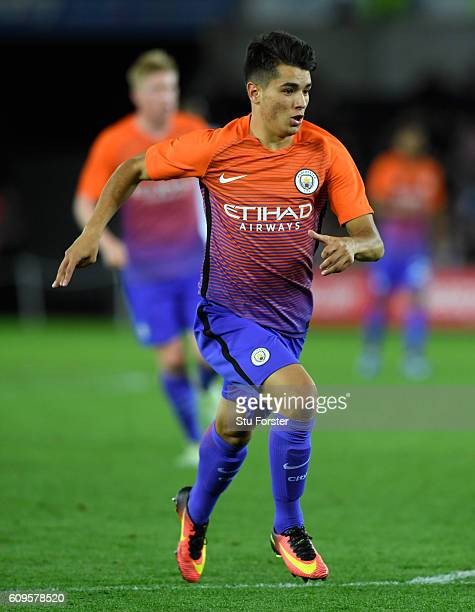 Brahim Diaz of Manchester City in action during the EFL Cup Third Round match between Swansea City and Manchester City at the Liberty Stadium on...