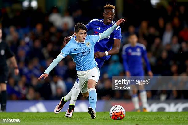 Brahim Diaz of Manchester City in action during the FA Youth Cup Final Second Leg between Chelsea and Manchester City at Stamford Bridge on April 27...